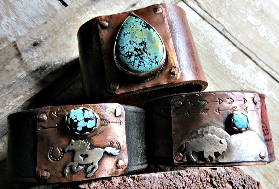 Custom Cuff Leather Distressed Bracelets by Weathered Soul Jewelry you pick stone of selection and your own leather of selection