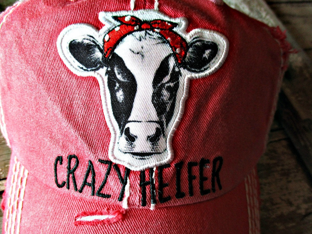 77b01d3c9f5d10 Crazy Heifer hat embroidered cow lover, Camping, Outdoors, cowgirl , Distressed  trucker hat! Red with black lettering, funny,humorous, USA