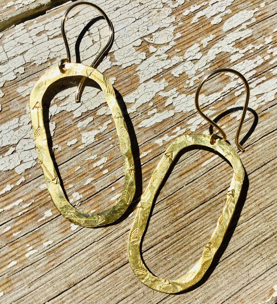 Arrow embossed bronze oval hoop earrings by Weathered Soul, super lightweight, quality, artisan, USA made, urban, cowgirl, classy, simple
