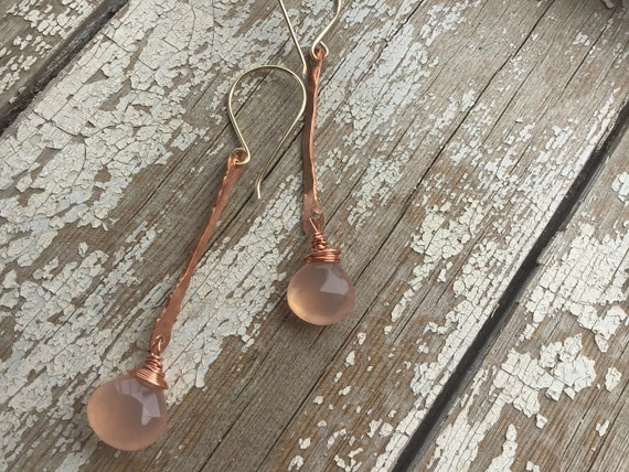 Pretty in Pink earrings by Weathered Soul jewelry ,copper and chalcedony