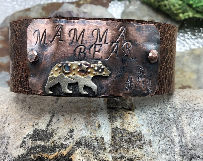 Mamma Bear leather, sterling, and copper cuff.