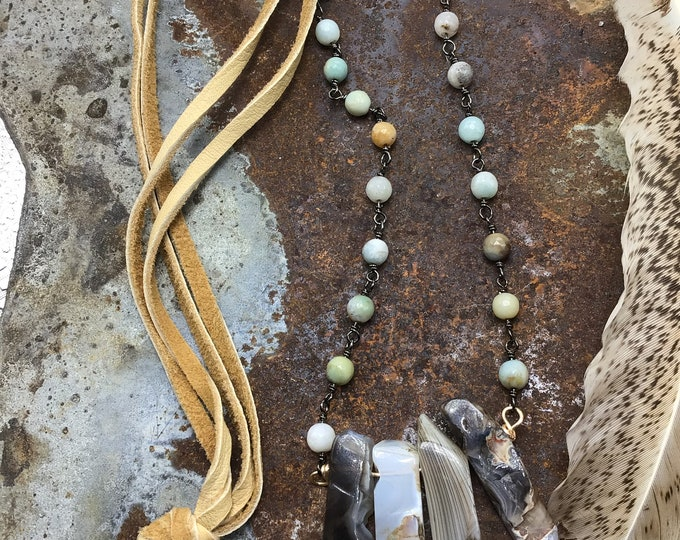 Beautiful coming into Spring necklace with raw agate, Amazonite, and palomino leather, easy over the head style, cowgirl classic