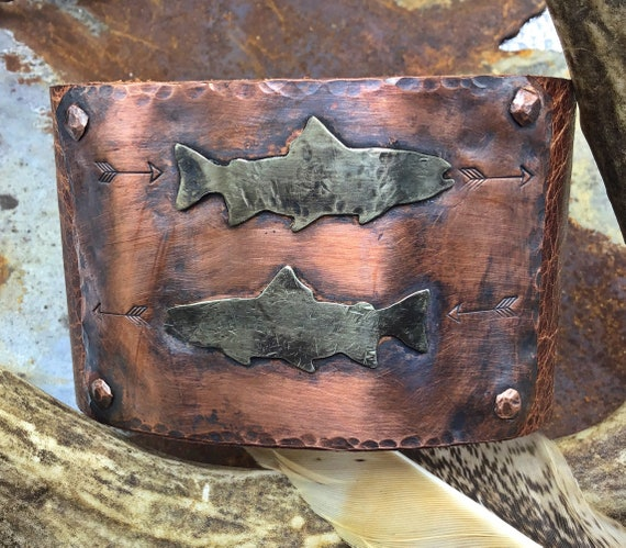 Salmon spawning leather, copper, and sterling cuff by Weathered Soul jewelry, artisan cuff, vintage nickel snap, men's cuff,western