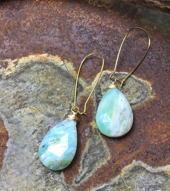 Large Peruvian Opal faceted teardrop stones dangling from long bronze hooked ear wires by Weathered Soul jewelry,urban chic,minimalistic
