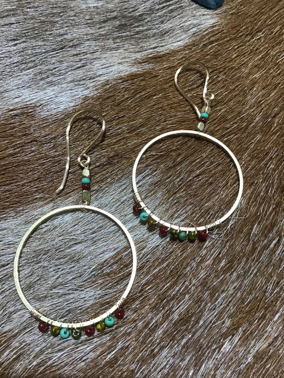 Sweet beaded bronze hoops by Weathered Soul jewelry, medium size, bronze ear wire, urban chic, minimalist, Southwest spirit
