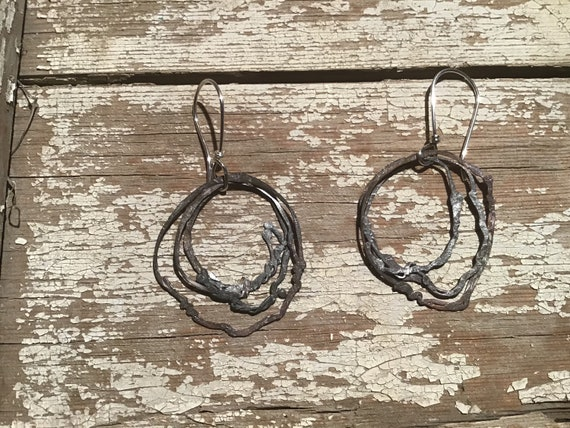 My Nest Hoops by Weathered Soul Jewelry, rustic multiple sterling hoops with reticulated silver, cowgirl, urban chic, artisan jewelry, USA