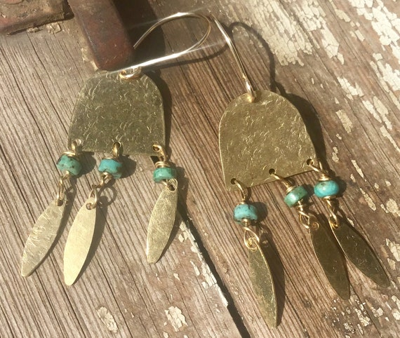 Summertime fringe earrings by Weathered Soul,bronze and turquoise hand hammered,light as a feather,artisan crafted,urban chic,boho,classic