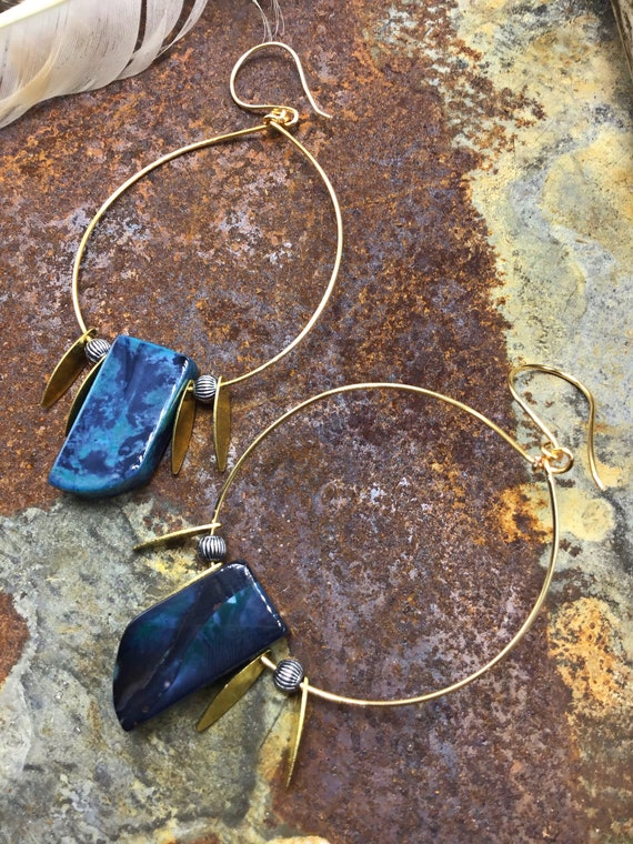 Very large bronze and agate dainty hoops by Weathered Soul jewelry, blue, lightweight,urban,rockstar,statement earrings,fun and funky
