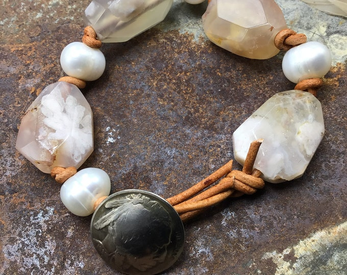 Pink quartz, pink agate, pearls, and leather with vintage buffalo nickel button closure, summer and spring time jewelry