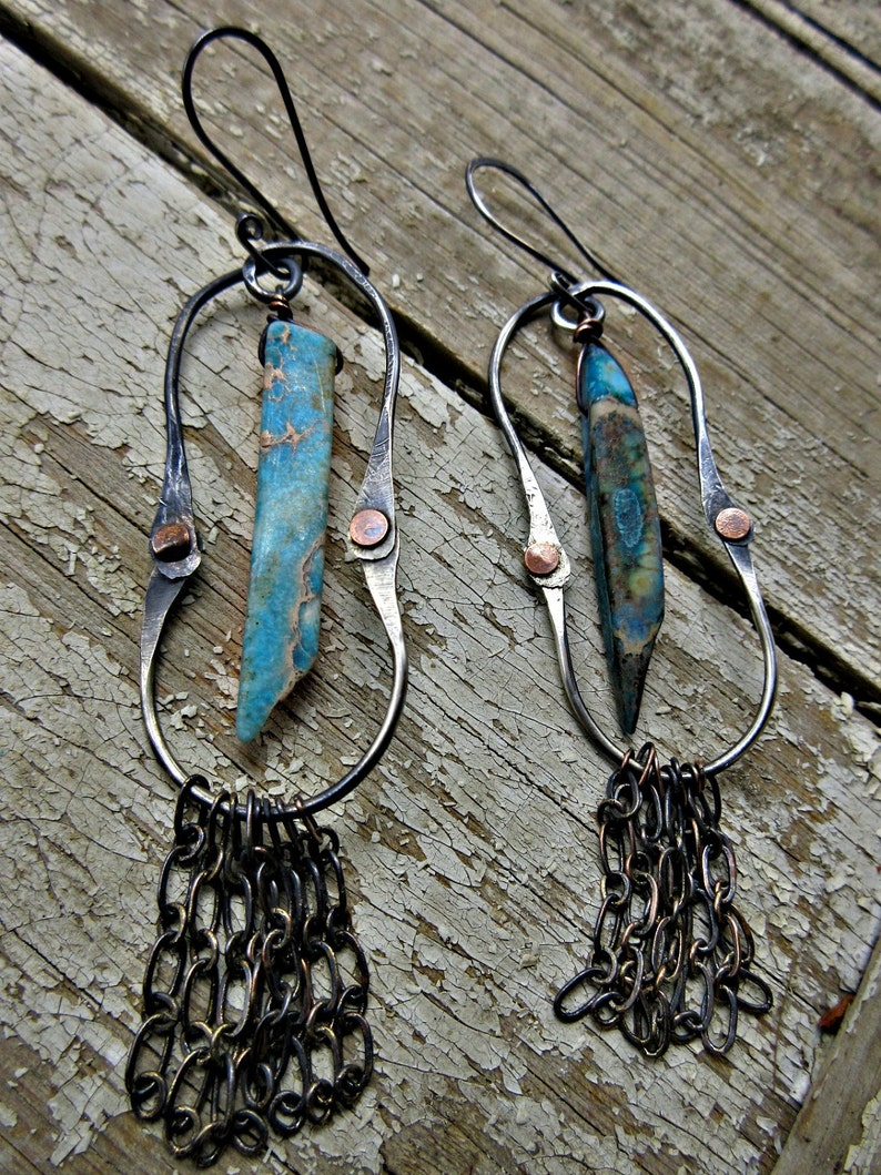 ladies rustic artisan made kicking cowgirl earrings Made to order statement jewelry by Weathered Soul  mixed metals magnesite USA rustic