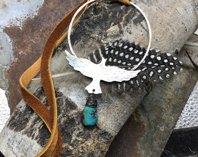 In flight very large hoop and raven pendant with soft elk leather and turquoise long for layers and easy over the head styling