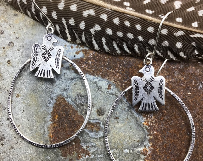 Made to order Thunderbird  medium hoops by Weathered Soul, cowgirl fashion,western couture,