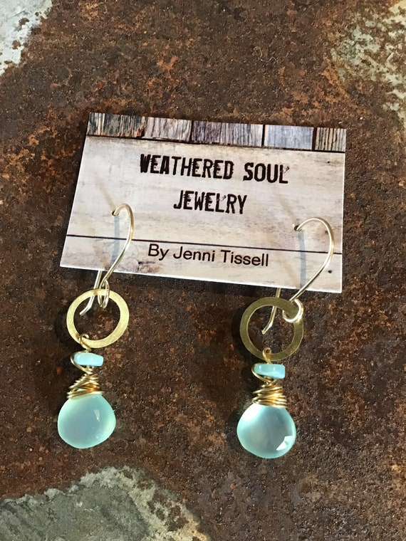 Hoop it up dainty hoops by Weathered Soul jewelry, chalcedony,Peruvian opal,artisan crafted in the USA,urban chic