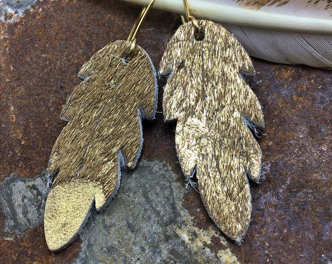 """Gold hair on hide feather earrings with bronze ear wires approximately 1.5"""" long, cowgirl fashion,western fashion, eclectic chic"""