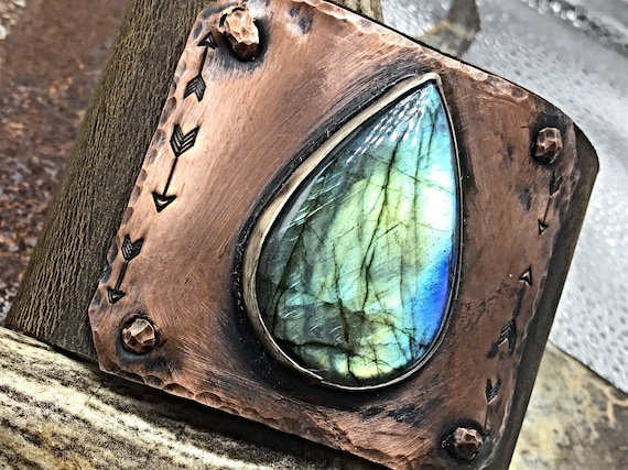 "A little on the flashy side cuff by Weathered Soul, Wide 2"" distressed leather cuff bracelet, super gorgeous Labradorite, urban chic"
