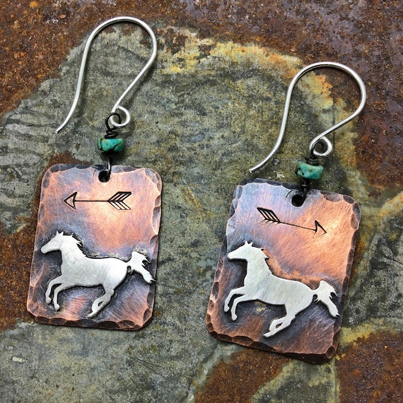 Running pony earrings by Weathered Soul jewelry, rustic copper and sterling earrings,arrows embossed.sterling ear wires, USA crafted