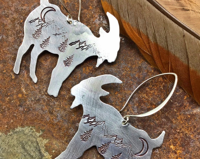 Billy goat gruff  earrings by Weathered Soul, mountain scenery light as a feather aluminum with sterling ear wires,outdoor enthusiast