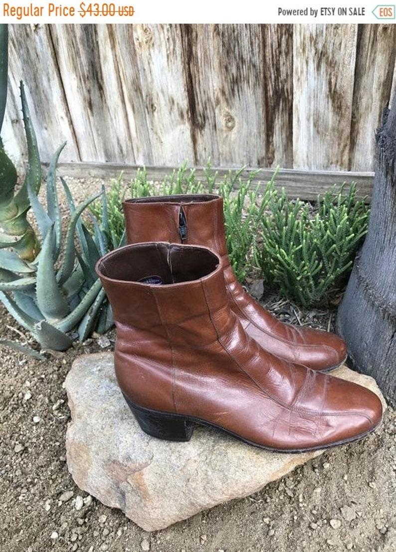 f342513e772d4 HOT SALE Vintage Florsheim Shoes \\ Mens Leather Ankleboots \\ 70s Chelsea  Boots \\ 90s Shoes \\ Rockabilly Shoes \\ Zipper Boots \\ Mobster