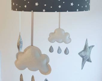 Cloud lampshade etsy star lampshade ceiling nursery silver star mobile nursery cloud and stars baby mobile mozeypictures Images