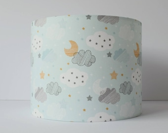 Cloud lampshade etsy blue cloud lampshade ceiling cloud nursery decor moon and stars nursery lamp shade mozeypictures Images