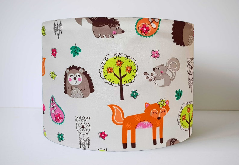 Woodland Animals Nursery Table Lamp Fox Light Shade Ceiling Etsy