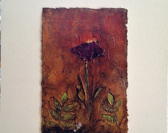 Acrylic Abstract Art, On paper, Matted, Original Painting, Flower, Modern, Home Decor, Wall art
