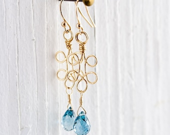 Hammered 14k Gold Filled Floret Earrings With Faceted London Blue Topaz Droplets – Wire Wrapped – Artisan Handmade Jewelry
