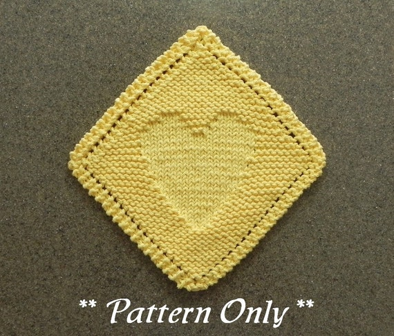 Diagonal Heart Knitted Dishcloth Pattern Valentines Day Etsy