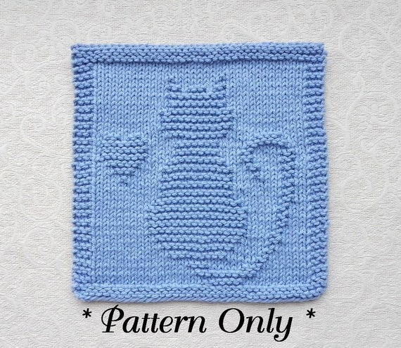 Cat With Heart Knit Pattern Pdf Instant Download Quilt Etsy