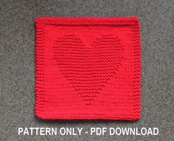 Knitted HEART Dishcloth PATTERN Valentine's Gift Idea Etsy Interesting Knitted Heart Pattern