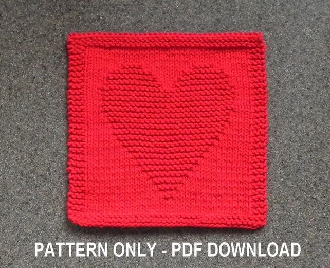 Knitted HEART Dishcloth PATTERN Valentine\'s Gift Idea | Etsy