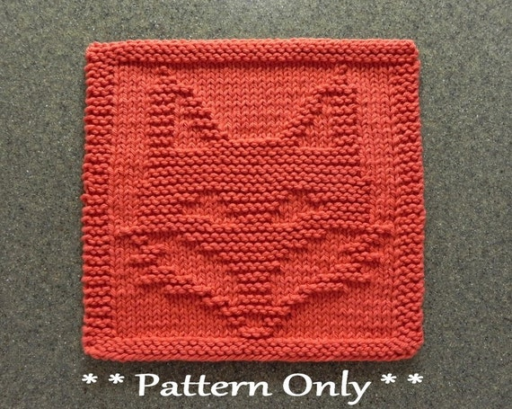 Fox Knit Pattern For Dishcloth Or Wash Cloth Quilt Block For Etsy
