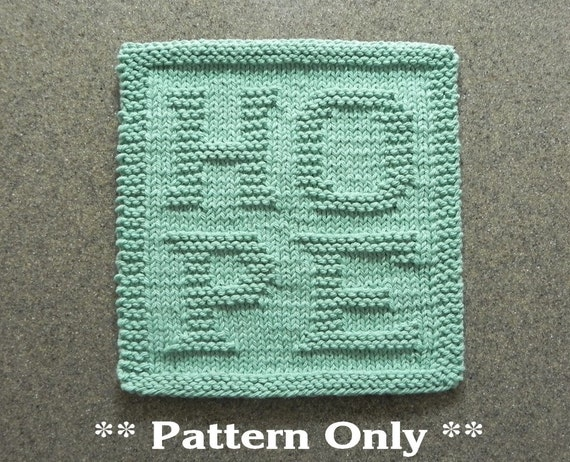 Hope Knitting Pattern Dish Cloth Pattern Knit Wash Cloth Etsy