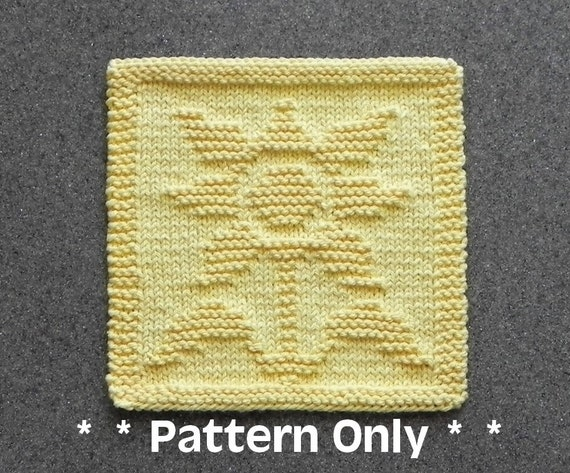 Sunflower Dishcloth Pattern Pdf Instant Download Knit Wash Etsy