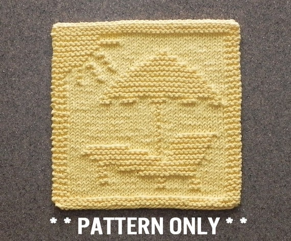 Easy Knitting Pattern Of Beach Scene For Dishcloth Or Wash Etsy