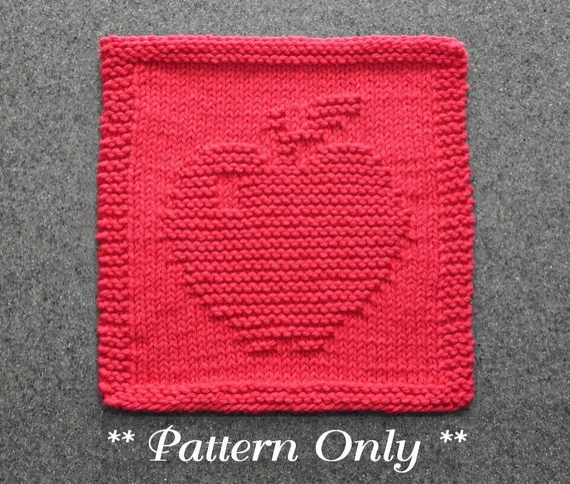 Apple Dishcloth Knitting Pattern Pdf Instant Download Knit Etsy