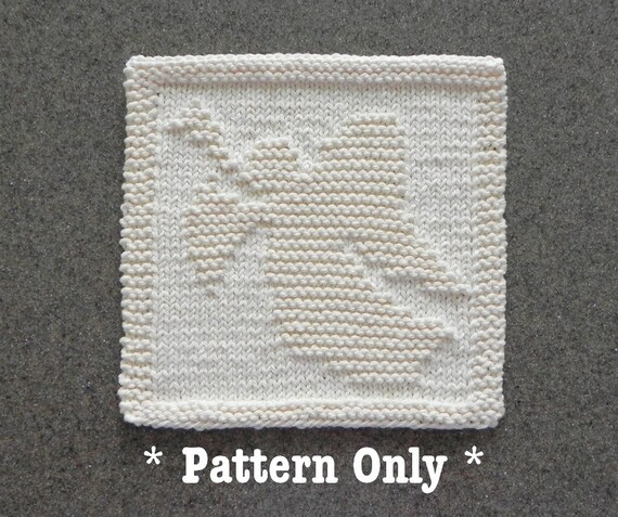 Christmas Angel Knitted Dishcloth Pattern Angel Trumpet Etsy