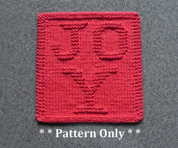 Joy Christmas Dishcloth Pattern Basic Wash Cloth Knitting Etsy