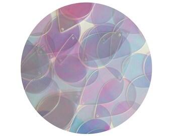 Sequins 38mm Hoop Teardrop Pear Red Gold Blue Silver Laser Hologram Choose Color