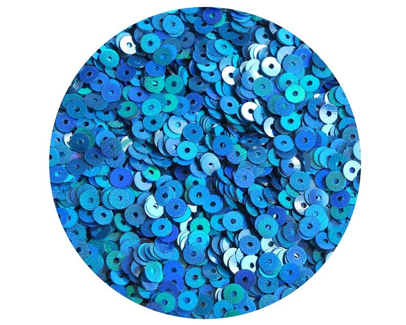 4mm Round Sequins Marine Blue Shimmer Lazer Rainbow Loose Paillettes Made in USA