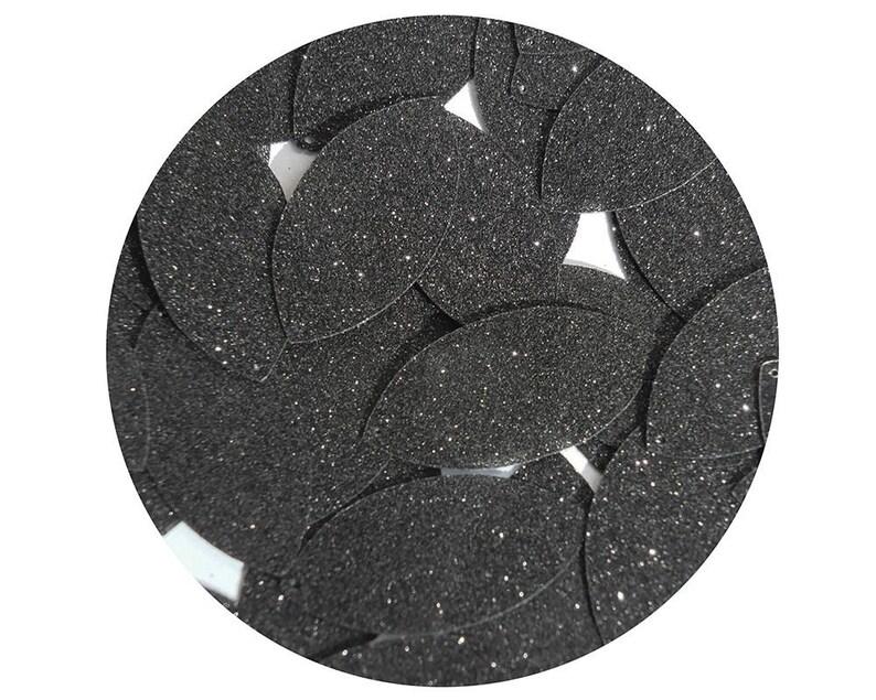 Navette Leaf Sequin 1.5 Black Metallic Sparkle Glitter Texture  Loose Couture Paillettes