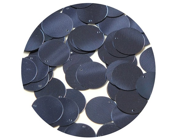 Made in USA Round Flat Sequin 12mm Top Hole Royal Navy Blue Metallic paillettes