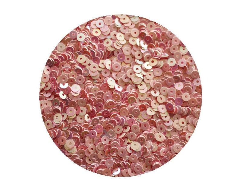 Made in USA 3mm Flat Round Sequins Pink Opaque Iris Rainbow Iridescent