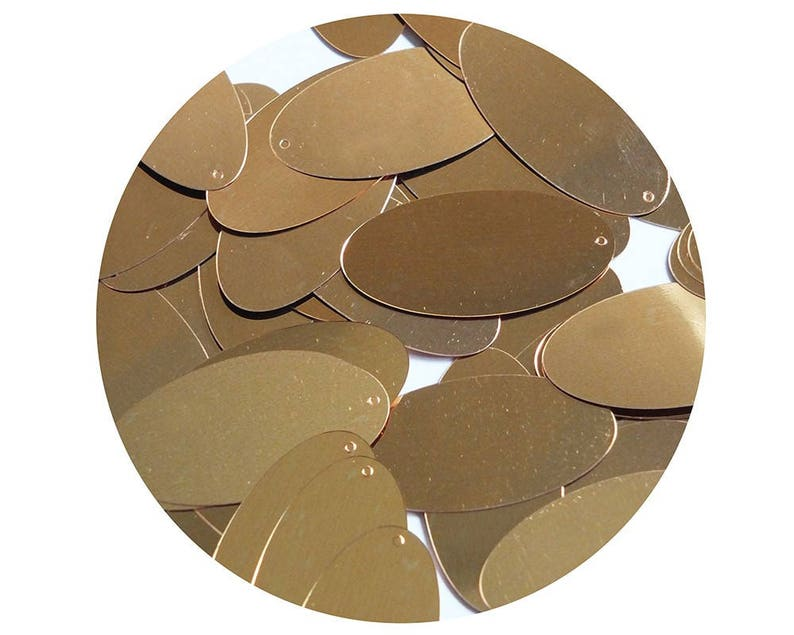 Oval Sequin 1.5 Copper Gold Metallic Loose Couture Paillettes