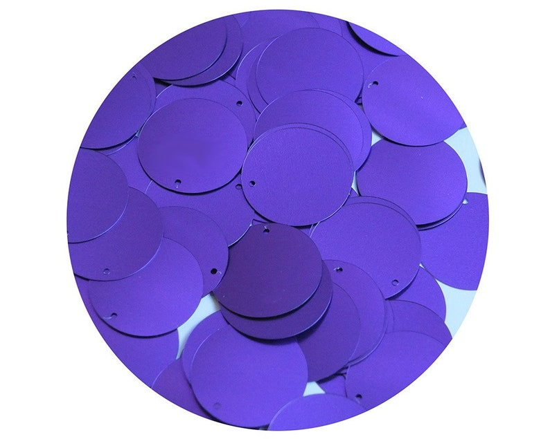 1  24mm Round Flat Sequins Violet Purple Matte Satin Shimmer Couture paillettes Made in USA