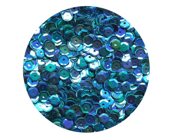 5mm Cup SEQUIN FACET PAILLETTES ~ TURQUOISE TEAL BLUE Metallic ~ Made in USA