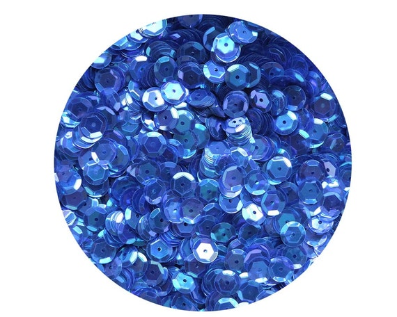4mm Cup SEQUIN FACET PAILLETTES ~ SAPPHIRE BLUE CRYSTAL Rainbow Iris Iridescent