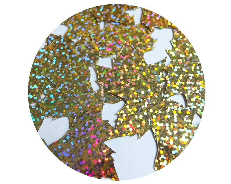 Made in USA Sequin Maple Leaf 1.25 Gold Hologram Glitter Sparkle Metallic
