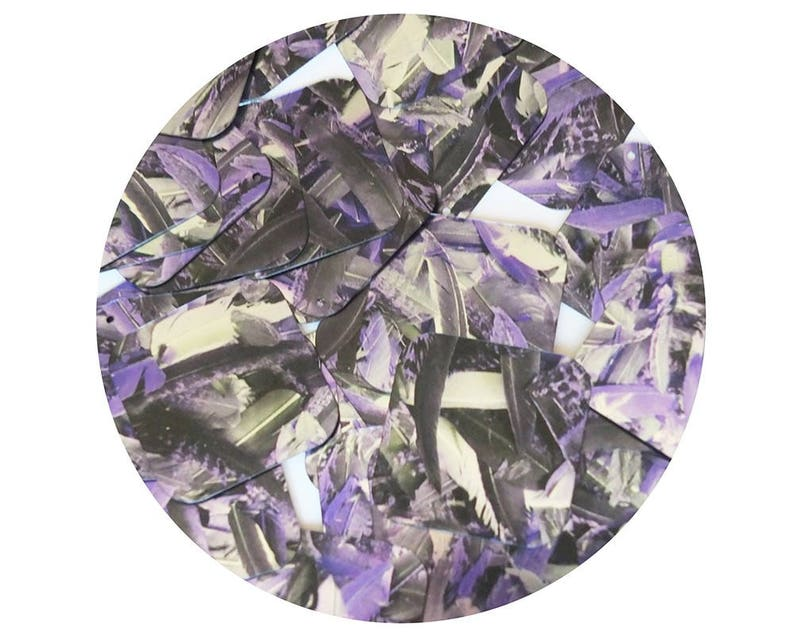 Sequin Square Diamond 1.5 Purple Silver Bird Feathers Print Metallic