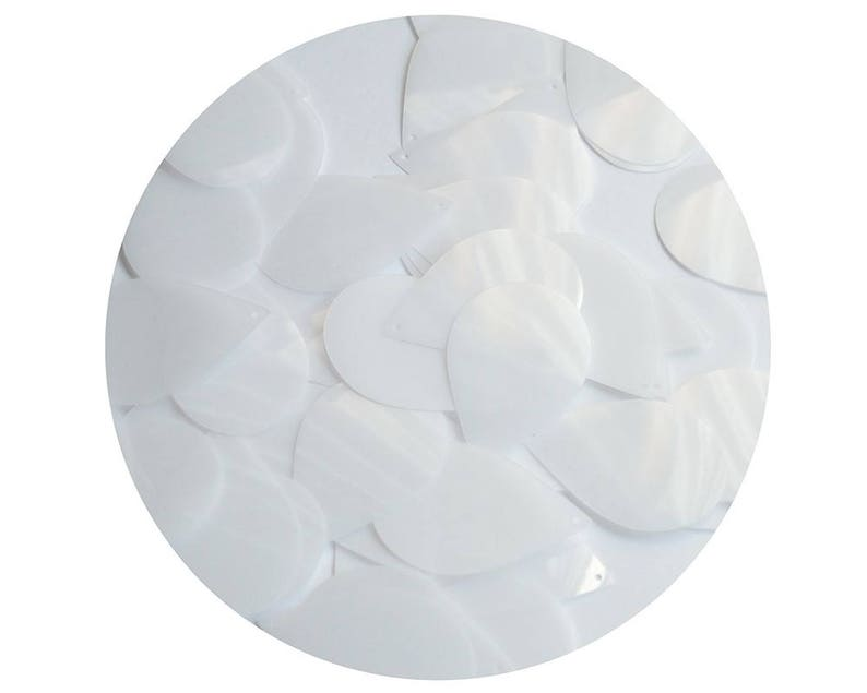 Teardrop Sequin 1.5 Milky White Transparent Glossy and Matte Duo Two Sided  Loose Couture Paillettes